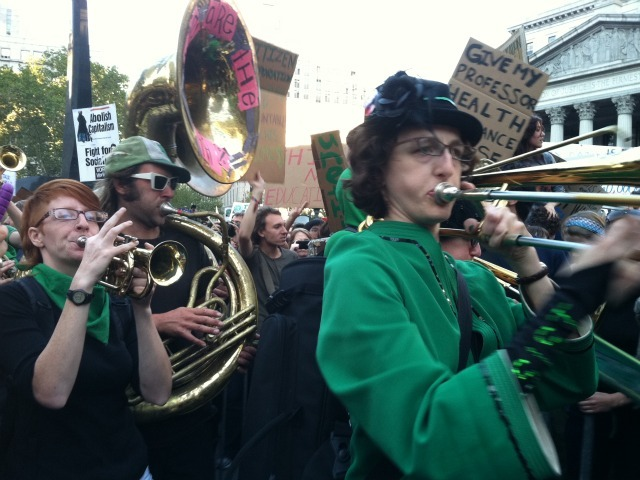 Musicians perform at the Occupy Wall Street march in Foley Square on Oct. 5, 2011.