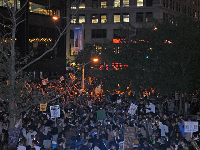 The march ended at Zuccotti Park, the home of Occupy Wall Street.