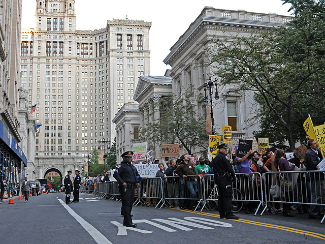 The protesters marched right by City Hall.