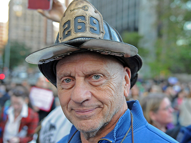 Doyle Warren, 71, a retired Brooklyn  firefighter marched Wednesday.