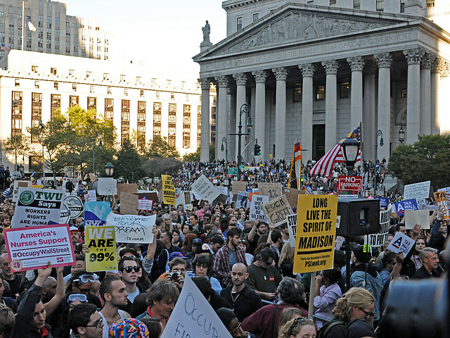 The crowd in Foley Square stretched across the street to the federal court house.