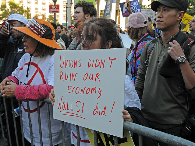 Workers at the rally said blame should be placed on Wall Street and not unions for the recession.