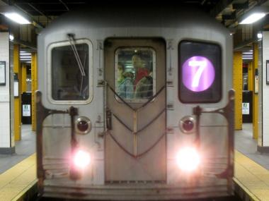 7 train at Main Street in Queens, photographed in 2008.