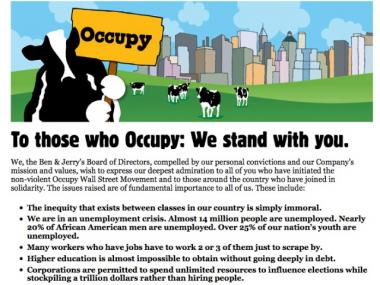 A message on the Ben & Jerry's website shows support for the Occupy Wall Street movement.