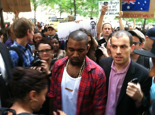 Kanye West walked through Zuccotti Park visiting Occupy Wall Street protesters on October 9, 2011.