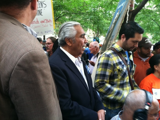 Rep. Charlie Rangel visited Al Sharpton as he broadcast from Zuccotti Park.