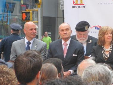 NYPD Commissioner Ray Kelly and FDNY Commissioner Salvatore Cassano spoke at a memorial for Vietnam veterans in Times Square on Tuesday, Oct. 11, 2011.