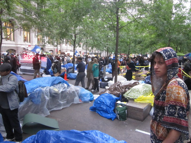 Protesters covered their belongings in tarps Oct. 12, 2011 in anticipation of a few days of rain.