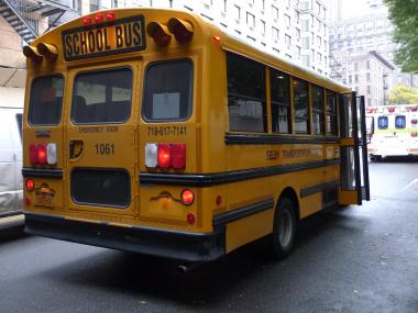 A school bus was rear-ended by a car on the Upper West Side on Oct. 13.