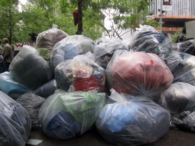 piled up trash bags