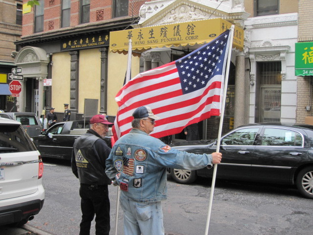 Veterans gathered in front of the funeral home during the services on Thurs., Oct. 13, 2011.