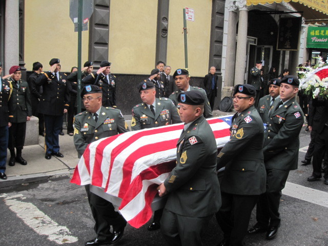 Pallbearers carry Pvt. Danny Chen's casket during funeral services in Chinatown on Thurs., Oct. 13, 2011.
