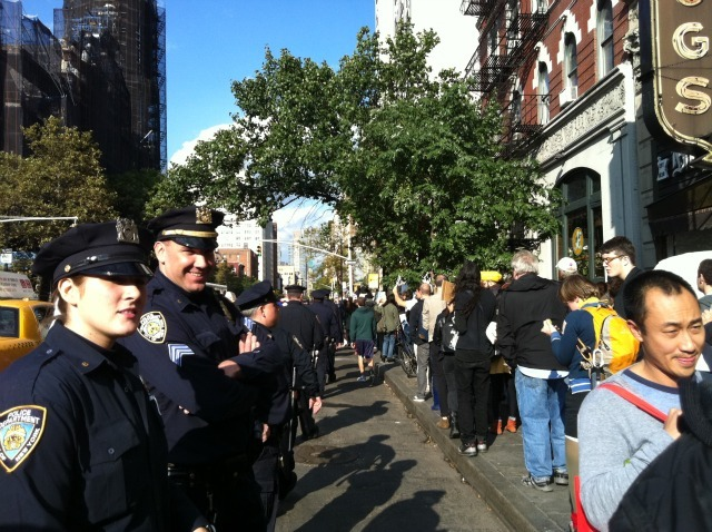 Cops line Sixth Avenue in the Village on Oct. 15, 2011 as Occupy Wall Street protesters march.