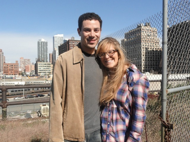 Lovebirds Adam Bildersec, 24, of Midtown West and Dylah Werbner, 23, of Morningside Heights pose along an overgrown section of the High Line not yet open to the public during an Open House New York tour on Oct. 16, 2011.