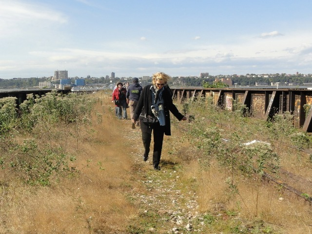 Bridget Bigatel, 52, of Madrid, visits the unopened section of the High Line for Open House New York on Oct. 16, 2011.