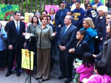 City Council Speaker Christine Quinn rallied with residents and other elected officials on Sunday, Oct. 16, to save Ruppert Playground. They are hoping to work something out with Related, which plans to build a 49-story tower on the site.