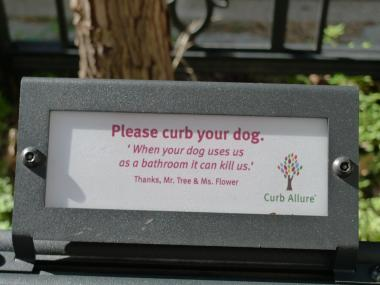 Curb Allure tree guards can be customized with signs warning dog owners that their pet's urine isn't healthy for trees.