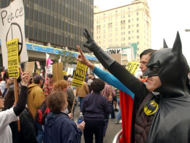 Batman, not Occupy Wall Street, will take over the streets of the Financial District this weekend.