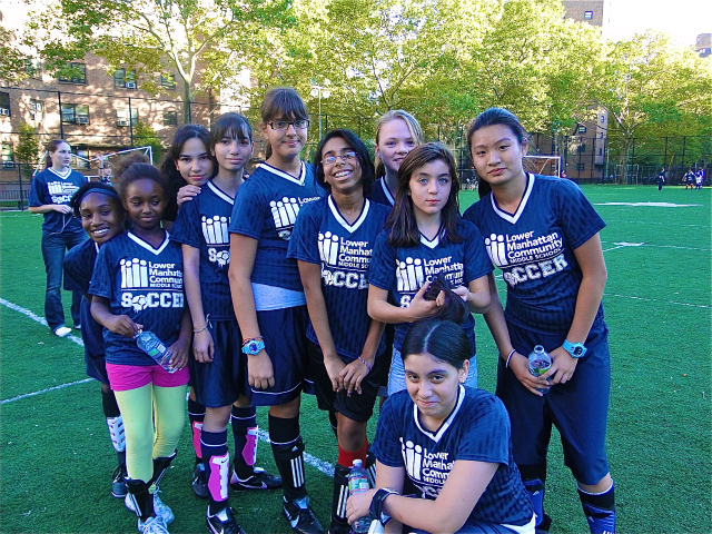 The soccer team at Lower Manhattan Community Middle School, where funding for coaches was cut this year.