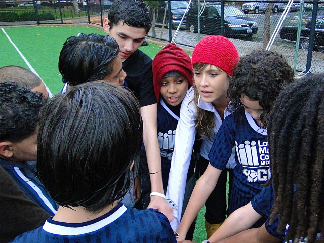 Students on the Lower Manhattan Community Middle School's soccer team, which lost city CHAMPS funding this year.