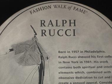 The plaque hails Rucci as one of the country's greatest designers.