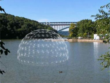 The eco-educational dome is scheduled to float into Inwood on Friday.