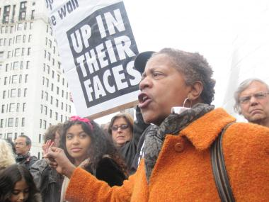 Nellie Bailey, one of the organizers of Occupy Harlem, speaks at a protest against the city's stop and frisk policies in Harlem on Oct. 21, 2011.