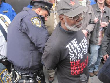 Carl Dix, founding member of the Revolutionary Communist Party, is arrested during a protest against stop and frisk in front of the 28th Precinct in Harlem on Oct. 21, 2011.
