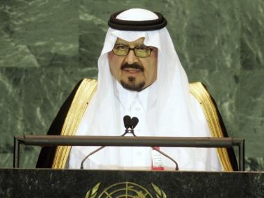 Saudi Arabia's Crown Prince Sultan bin Abdulaziz Al-Saud speaks to the General Assembly at the United Nations on September 15, 2005 in New York City. The main topics of the summit discussed are the need for UN reform, the fight against terrorism, and further effort to achieve the Millennium Development Goals.