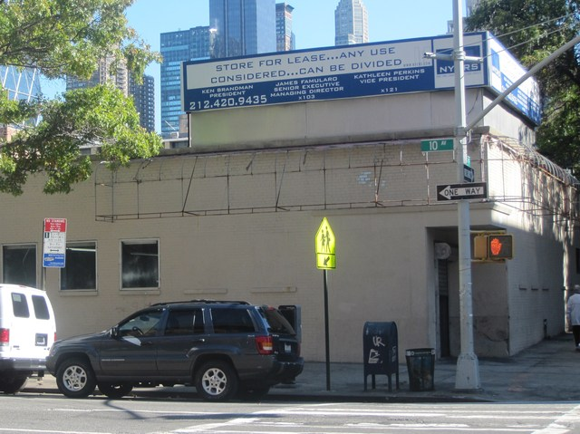 A 'for lease' sign still sits on top of the building.