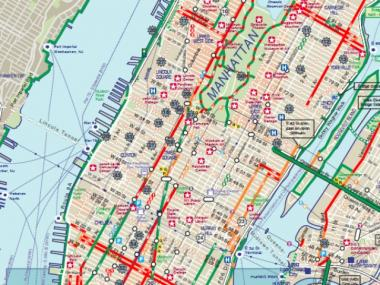 Midtown's existing bike network. As the map shows, Sixth Avenue's bike lane currently ends at Bryant Park.