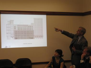 Michael Mirisola from the School Construction Authority showed drawings of the new school.