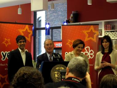 Mayor Michael Bloomberg hailed Yelp's new headquarters near Union Square, which opened on Wednesday, Oct. 26, 2011.