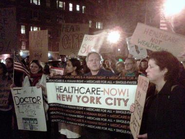Occupy Wall Street and other protesters rally at Seventh Avenue and 11th Street against the closure of St. Vincent's Hospital and the lack of universal health care on Oct. 26, 2011.