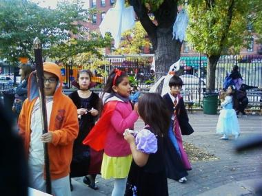 Children enjoy the 2010 Hell's Kitchen Park Halloween Party.