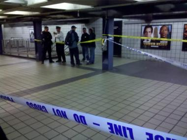 A man was struck and killed by an E train at the 42nd Street-Port Authority Terminal station on Thurs., Oct. 27, 2011.