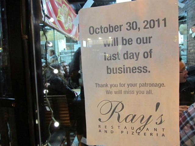 Ray's Pizza closed Oct. 20, 2011.