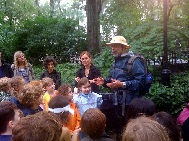 Wildman Steve Brill teaches kids and adults which naturally grown foods in Inwood HIll Park, Manhattan's only natural forest, are good to eat.
