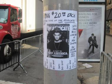 A man identifying himself as 'Rich' has covered Chelsea in posters like these, and is hoping to collect the magazines for Adam Lambert fans in Japan.