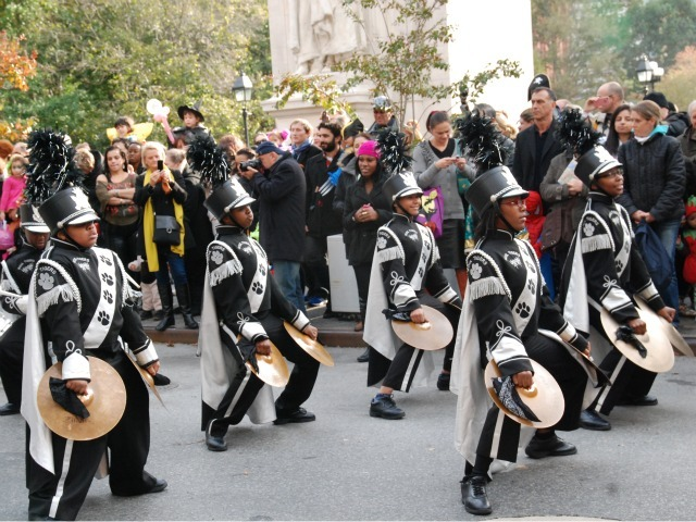 <p>The Soul Tigers, from I.S. 290 in Brooklyn, performed at the Village&#39;s Halloween parade.</p>