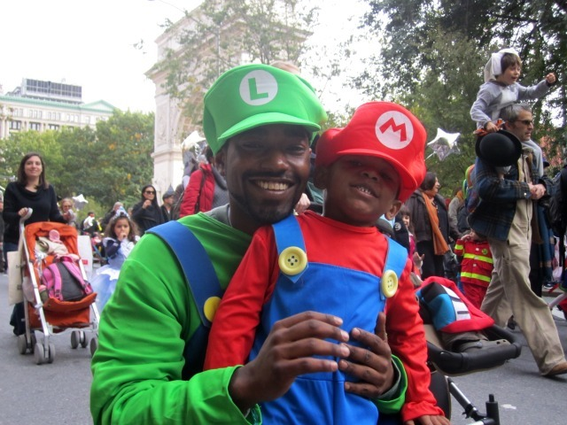 <p>Randel Halsey and his son, Khary, came from the Bronx to the Village for the kids&#39; parade.</p>