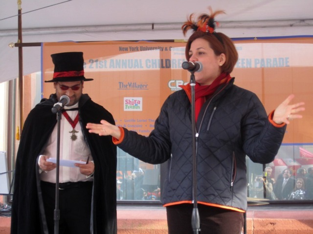 <p>City Council Speaker Christine Quinn wished the families &quot;a happy and safe and fun and chocolate-filled Halloween.&quot;</p>