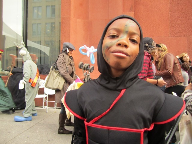 <p>Kamal Smith, 10, dressed as a ninja, came with his family from Harlem to enjoy the costume.</p>