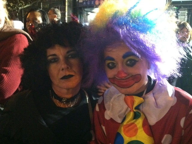 <p>Kim, 44, (L) from New Jersey, dressed up as &quot;Mysterious Misty,&quot; while her 18-year-old daughter, Kelsey, dressed as &quot;Krispy the clown&quot; for the Greenwich Village Halloween parade, Oct. 31, 2011.</p>