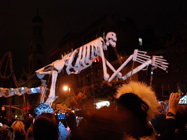 <p>Giant skeletons loomed over the crowd at the 2011 Village Halloween Parade.</p>