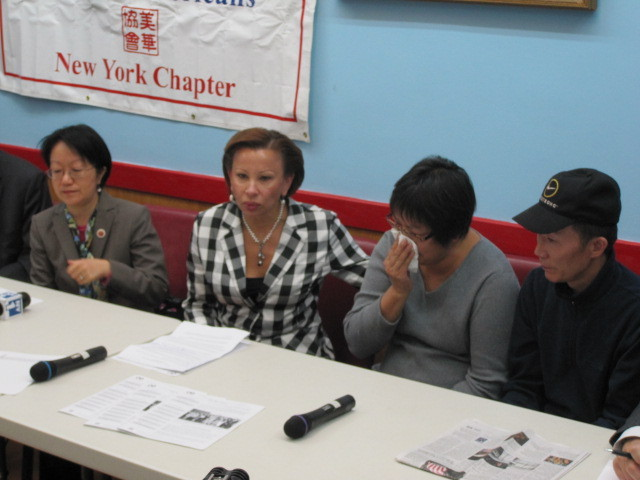 L to R: Councilwoman Margaret Chin, Rep. Nydia Velazquez, Su Zhen Chen and Yan Tao Chen at a Tues., Nov. 1, 2011, press conference.