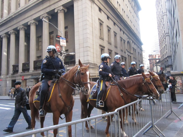 Mounted NYPD officers on Wall Street Nov. 2, 2011, before the barricades were removed.