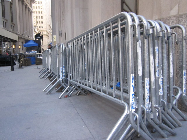 A row of barricades that were removed Nov. 2, 2011.