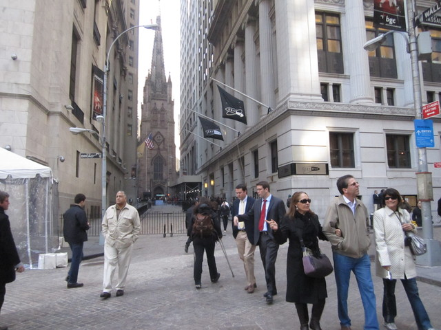 Wall Street was open for pedestrians to walk for the first time in weeks.