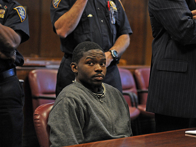 Leon Stuckey, 19, an alleged member of Harlem's Goodfellas gang at his arraignment on Nov. 4, 2011.